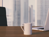 Digital Illustration of Desk with Arm Chair, Laptop and Mug in front of Skyline 11030043630| 写真素材・ストックフォト・画像・イラスト素材|アマナイメージズ