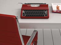 Digital Illustration of Desk with Red Chair, Red Typewriter and Books 11030043847| 写真素材・ストックフォト・画像・イラスト素材|アマナイメージズ