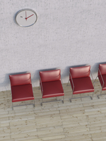 Digital Illustration of Overhead View of Four Red Chairs in a Row in front of Concrete Wall 11030043853| 写真素材・ストックフォト・画像・イラスト素材|アマナイメージズ