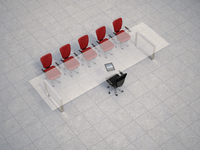 Illustration of glass conference table with business chairs on granite tiles, studio shot 11030044149| 写真素材・ストックフォト・画像・イラスト素材|アマナイメージズ