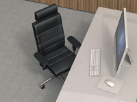 Illustration of modern work station with desktop computer, leather office chair and desk with acrylic glass desktop, studio shot 11030044150| 写真素材・ストックフォト・画像・イラスト素材|アマナイメージズ