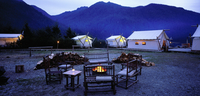 Chairs and Campfire at Clayoquot Wilderness Resort, Clayoquot British Columbia, Canada