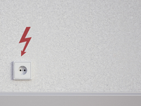 Digital Illustration of Electrical Socket on Concrete Wall with Flash Icon 11030045641| 写真素材・ストックフォト・画像・イラスト素材|アマナイメージズ
