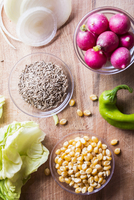 Ingredients for a salad with Truman, sweetcorn, radishes and green peppers 11047045721| 写真素材・ストックフォト・画像・イラスト素材|アマナイメージズ