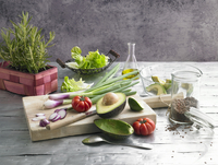 A vegetable still life with rosemary, olive oil and linseed 11047056038| 写真素材・ストックフォト・画像・イラスト素材|アマナイメージズ