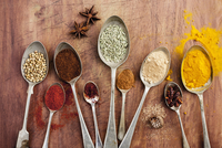 Assorted spices on vintage spoons 11047057990| 写真素材・ストックフォト・画像・イラスト素材|アマナイメージズ
