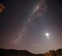 The Milky Way, the Moon and Venus over the fields in Azul, A