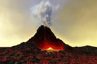 An active volcano spews out hot red lava and smoke. 11079016511| 写真素材・ストックフォト・画像・イラスト素材|アマナイメージズ