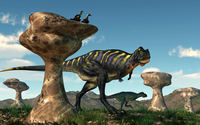 A pair of Aucasaurus dinosaurs walk amongst a forest of stone sculptures. 11079021827| 写真素材・ストックフォト・画像・イラスト素材|アマナイメージズ