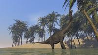 Two large Brachiosaurus grazing along a bay. 11079022174| 写真素材・ストックフォト・画像・イラスト素材|アマナイメージズ