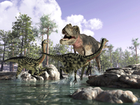 A Tyrannosaurus Rex hunting two Gallimimus dinosaurs in a river. 11079023199| 写真素材・ストックフォト・画像・イラスト素材|アマナイメージズ