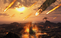 A falling asteroid and meteorites mark the end of the dinsoaurs rule of the Earth. 11079027691| 写真素材・ストックフォト・画像・イラスト素材|アマナイメージズ