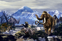 Neanderthals approach a group of Machairodontinae feeding with a herd of Woolly Mammoths. 11079028654| 写真素材・ストックフォト・画像・イラスト素材|アマナイメージズ
