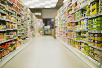 Defocussed view of grocery store aisle