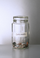 Savings change jar on counter