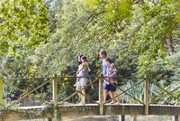 Family crossing footbridge in park with trees