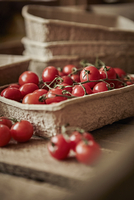 Still life fresh, organic, red, healthy vine cherry tomatoes in container