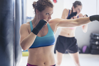 Determined, tough female boxer shadowboxing in gym 11086036372| 写真素材・ストックフォト・画像・イラスト素材|アマナイメージズ