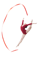 Female gymnast performing rhythmic gymnastics with ribbon