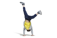 Cute boy break dancing
