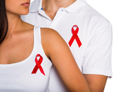 Couple supporting aids awareness together 11092003316| 写真素材・ストックフォト・画像・イラスト素材|アマナイメージズ