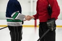 Mid section of hockey players shaking hands at rink 11092008924| 写真素材・ストックフォト・画像・イラスト素材|アマナイメージズ