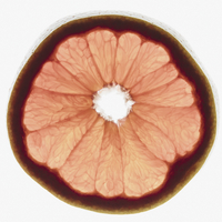 Slice of organic ruby red grapefruit on white background