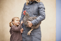 A woman in a grey coat holding a black and white chicken 11093002673| 写真素材・ストックフォト・画像・イラスト素材|アマナイメージズ