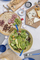 High angle view of a cheese board, cheese, olives, nuts and a bowl of salad on a table. 11093007230| 写真素材・ストックフォト・画像・イラスト素材|アマナイメージズ