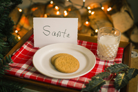 Christmas preparations. A plate with biscuits and a glass of milk on a tray for Santa. 11093009410| 写真素材・ストックフォト・画像・イラスト素材|アマナイメージズ