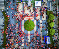 SantaCon parade in 2015. Aerial view over Union Square in San Francisco.