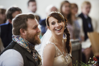 Smiling bride and groom at their church wedding. 11093015774| 写真素材・ストックフォト・画像・イラスト素材|アマナイメージズ
