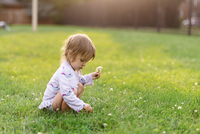 Young girl kneeling on a lawn, picking clover. 11093017759| 写真素材・ストックフォト・画像・イラスト素材|アマナイメージズ
