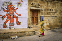 Drawing of Hindu deity on a wall, Hill Forts of Rajasthan in Jaisalmer, India. 11093020235| 写真素材・ストックフォト・画像・イラスト素材|アマナイメージズ
