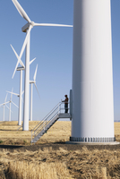 A wind farm technician standing and using a laptop at the base of a turbine on a wind farm in open countryside at Palouse. 11093022372| 写真素材・ストックフォト・画像・イラスト素材|アマナイメージズ