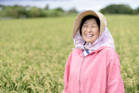 Smiling woman wearing straw hat and pink jacket standing in a rice field, looking at camera.