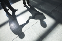A shadow on a tiled floor of two businessmen shaking hands. 11093025709| 写真素材・ストックフォト・画像・イラスト素材|アマナイメージズ