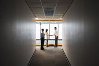 A mixed race group of business people talking and shaking hands in front of a window at the end of a long hallway. 11093026315| 写真素材・ストックフォト・画像・イラスト素材|アマナイメージズ