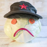 Cabbage as Smiley with Vietnamese hat