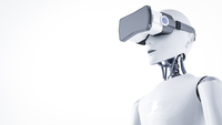 3D Rendering, Roboter with virtual reality glasses 11094003017| 写真素材・ストックフォト・画像・イラスト素材|アマナイメージズ