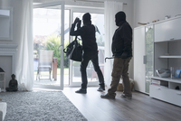 Two burglars leaving an one-family house with their loot at 11094021441| 写真素材・ストックフォト・画像・イラスト素材|アマナイメージズ