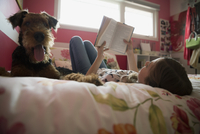 Dog laying next to girl reading book bed 11096013746| 写真素材・ストックフォト・画像・イラスト素材|アマナイメージズ