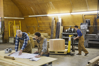 Woodworkers reviewing plans together at table in workshop 11096031723| 写真素材・ストックフォト・画像・イラスト素材|アマナイメージズ