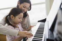 Mother teaching daughter to play piano