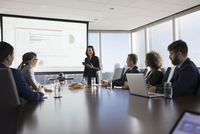 Businesswoman with digital tablet leading presentation at projection screen in conference room meeting