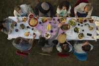 Overhead view friends eating and drinking at garden party dinner 11096055558| 写真素材・ストックフォト・画像・イラスト素材|アマナイメージズ