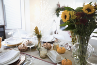 Sunflower bouquet and pumpkin decorations on Thanksgiving dinner table 11096058002| 写真素材・ストックフォト・画像・イラスト素材|アマナイメージズ