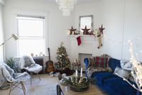 Apartment living room decorated for Christmas