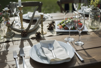 Flowers, food and placesettings on sunny patio table 11096065123| 写真素材・ストックフォト・画像・イラスト素材|アマナイメージズ