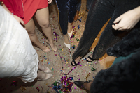 Confetti and legs of young women on nightclub floor